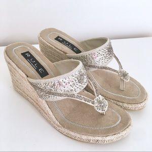 NWOT Steve Madden Sequin Espadrille Sandal Wedges